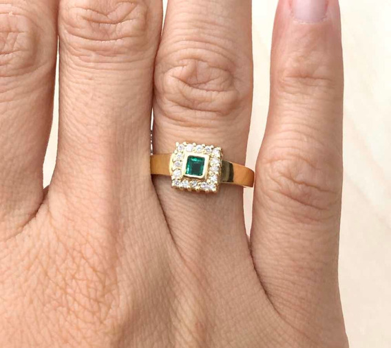 Anel Quad 16 Brilhant Pedra Nat. Carre De 4mm Em Ouro 18k