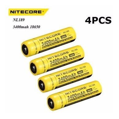 4 Bateria Nitecore 18650 3400 Mah Li-ion