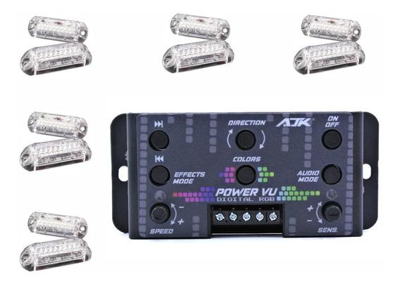 Kit Nova Central Ajk Power Vu C/ 10 Faróis Rgb Digital Som