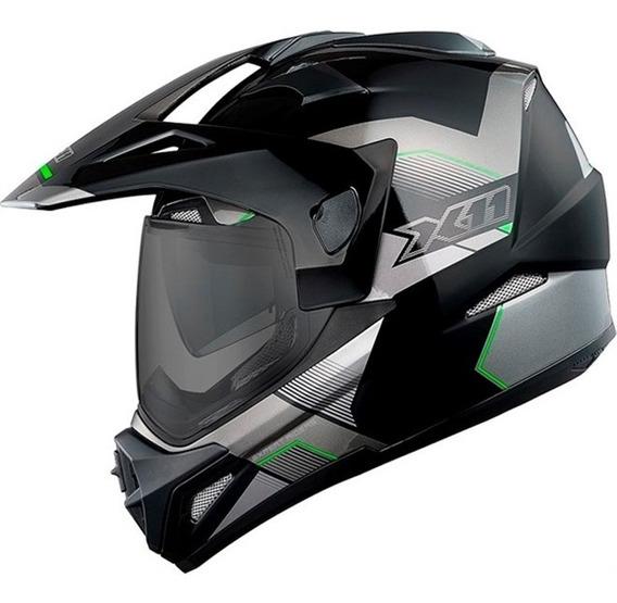 Capacete X11 Crossover X3 N Sv Preto Verde C/ Viseira Solar