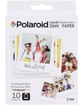 10 Folhas Papel Fotográfico Polaroid Zink Pop 3,5 X 4,25