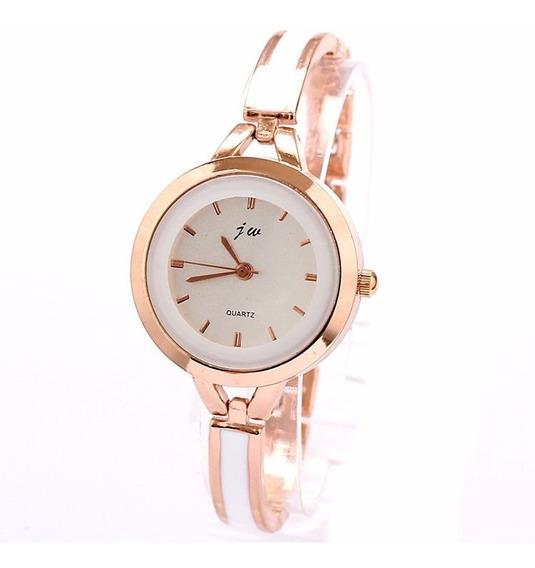 Relógio Feminino Bracelete Jw Dourado Quartzo Analógico
