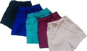 Short Feminino Cintura Alta Bengaline Shortinho Laço Jeans