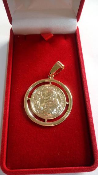 Medalha De São Francisco De Assis 3,5cm Folheada A Ouro 18k