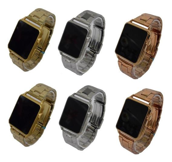Kit 10 Relógios Led Digital Touch Pulseira De Aço Unissex