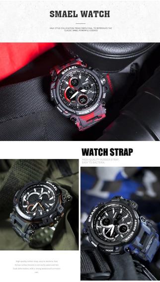 Relógio Smael 1708b Red Camuflage Militar Prova Dágua