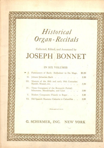 Joseph Bonnet Historical Organ Recitals Vol 6 - Schirmer