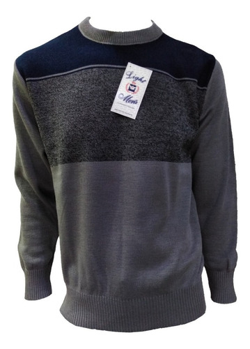 Suéter Azul Marino Con Rombos Cuello Redondo