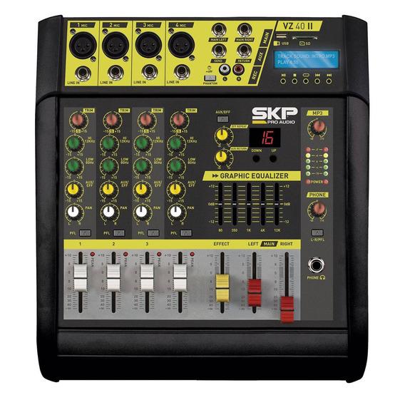Mesa De Som Amplificada 4 Canais Skp Vz40 Usb 400 Watts