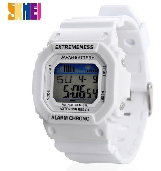 Relógio Skmei 6918 Branco Original Led Prova D Água Promoção