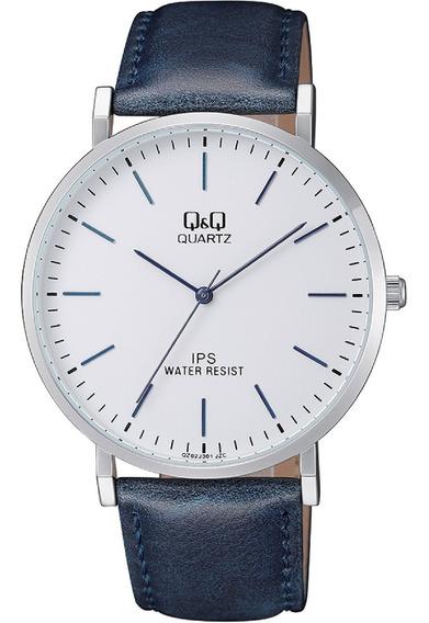 Reloj Q&q Caballero Qz02j301y Piel Azul Cristal Mineral