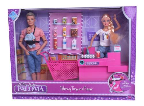 Muñeca Paloma Y Tomy En El Supermercado Simil Barbie
