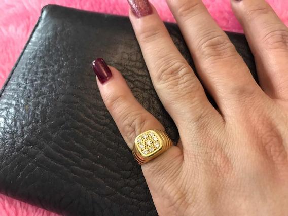 Anel De Dedinho Com 6 Pontos De Zircônia Unissex Ouro 18 750