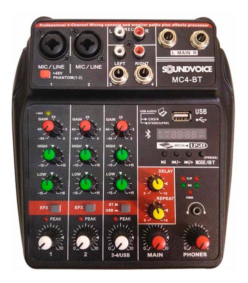 Mesa De Som Soundvoice Mc4-bt Bluetooth Bivolt Usb Mixer