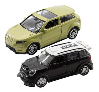 Kit Dupla 2 Carrinhos Miniaturas A Fricção Suv Mini Cooper