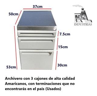 Archivero Con 3 Cajones Y Cubierta De Acero Inoxidable Usado
