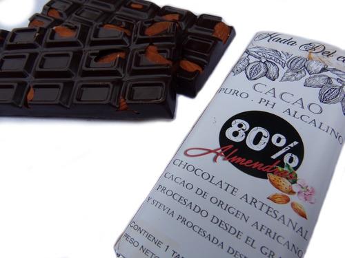 Chocolate 80%  Cacao Almendra Sin Azucar Stevia Keto Vegano