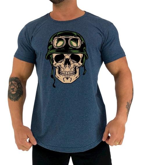 Camiseta Mxd Longline Caveira Militar Academia Bodybuilding