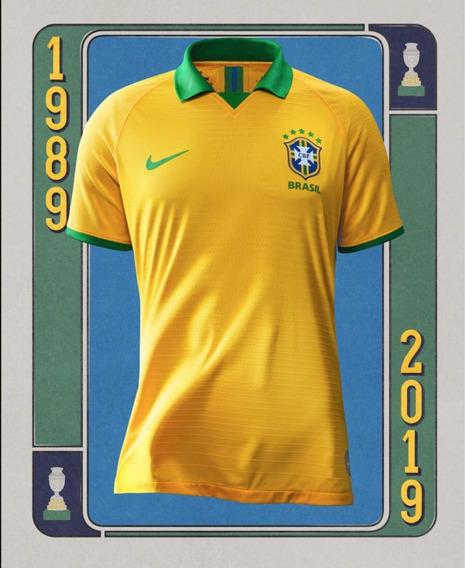 Camisa Nike Brasil Home Copa América 2019 Torcedor Amarela