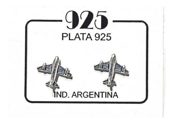 Aritos Avión - Plata 925 - Amo Viajar - Aros De Plata