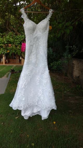 Vestido De Noiva Todo De Renda - Tamanho P/m - Nunca Usado