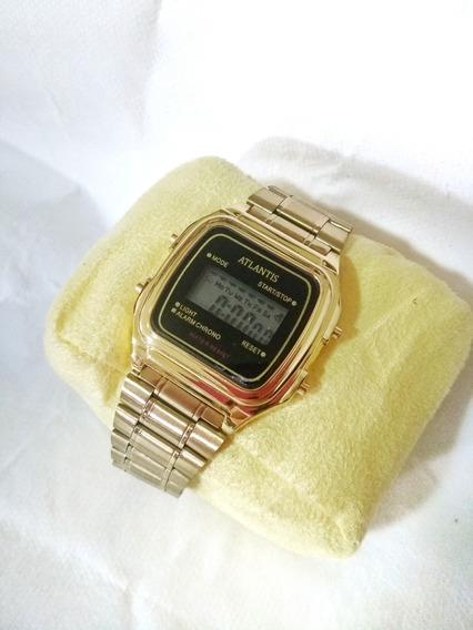 Relógio Atlantis Original Unissex Dourado 7049g