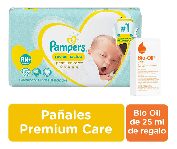 Pañales Pampers Premium Care Rn+ X 56 Unid + Bio Oil 25 Ml