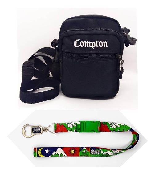 Shoulder Bag Compton Preta+chaveiro Cordão Abridor Chronic