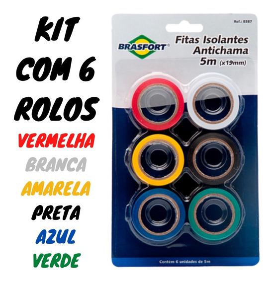Fita Isolante Colorida Kit C/ 6 Antichama 5m X 19mm Brasfort