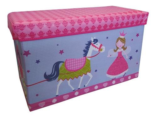 Guarda Juguetes Caja Organizador Infantil Baul Puff Princesa