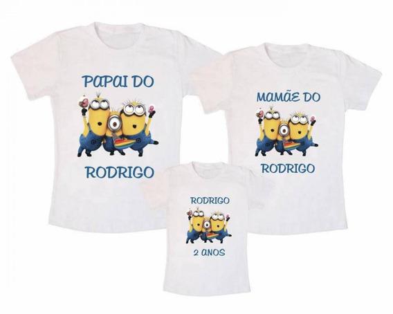Kit 3 Camisetas Minions Personalizadas Aniversário