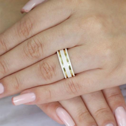 Alianças Compromisso Ouro E Prata Diamantadas 7mm 12g