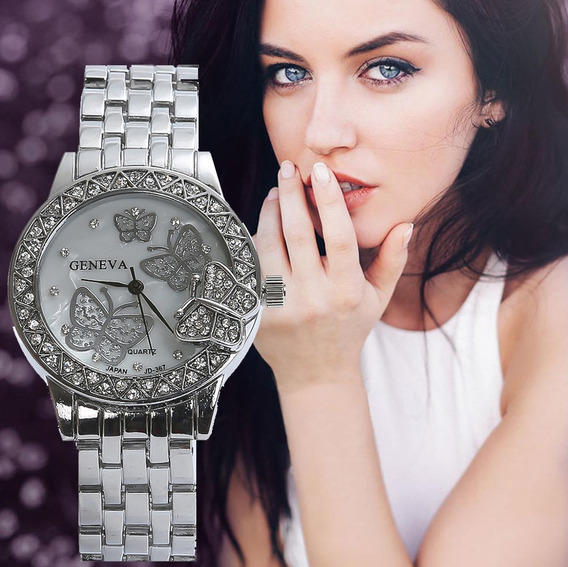 Relógio Feminino Promoção C/ Estojo Dourado Prata Barato