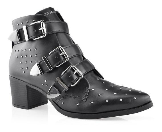 Bota Ankle Boot Bico Fino Cravo E Canela 155801