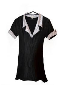 Lenceria Sexy Mini Vestido Tipo Secretaria En Negro
