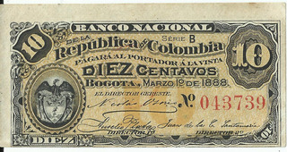 Billete De Colombia 10 Centavos De 1888