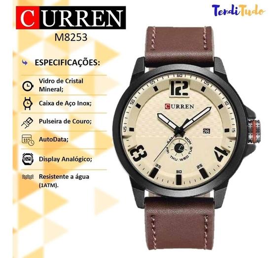 Relógio Analógico Curren 8253 Pulseira Marrom Caixa Prateada