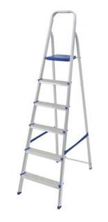 Escada De Alumínio 6 Degraus Com Fita De Segurança Mor