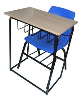 Mesa Lateral Escolar Con Parrilla Porta Libros Con Silla