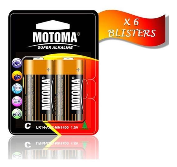 Pila Batería Alcalina Tipo C 1.5 V Motoma Pack 6blisters 12u