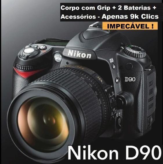 Nikon D90 Com Grip 2 Battery Acessórios Originais Apenas 9k