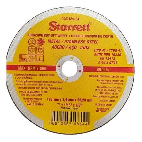 Imagem 1 de 3 de 12 Disco De Corte Fino Starrett 7pol Esmerilhadeira