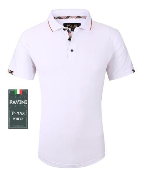 Playera Caballero Marca Pavini Original P758 Blanco