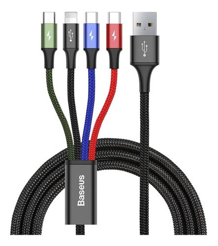 Imagen 1 de 10 de Cable 4 En 1 Baseus 3.5a Tipo C Microusb Lightning