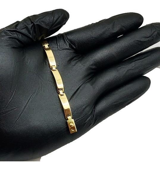Pulseira De Placa 10 Grs Ouro 18kl 750 (fechada) Masculina