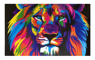 Poster Cuadro Marco Madera 56 X 86 Cms Animales Colores