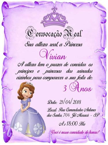 Imagem 1 de 6 de 55 Convite Pergaminho Lilás Princesa Sofia