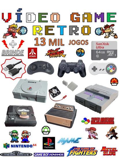 Video Game Retro 64gb Com 2 Controles Jogos Raspberry