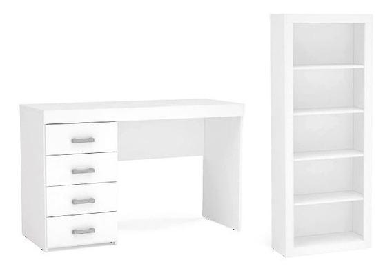 Escrivaninha E Estante Mv Branco P/ Espaço Sala Pequeno