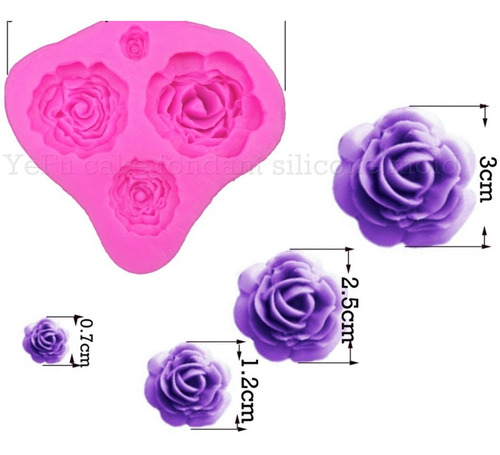 Imagem 1 de 1 de Ab45 Molde De Silicone Rosas Para Confeitar